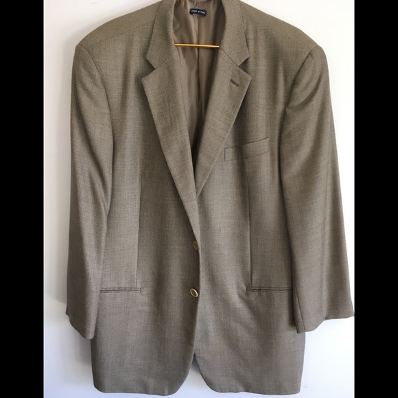 Men's Blazer / Light Brown Vintage Seersucker Jacket / Size 44 Large zfUnLEeS